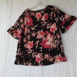 Roz & Ali Top Black Floral V-Neck Bell Sleeves